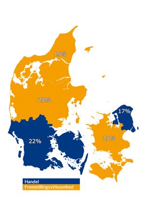Topbranche for hver region (uden vikar- og personaleservice og offentlig forvaltning)